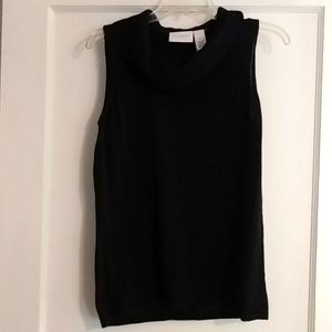 Black Sleeveless Cowl Neck Top
